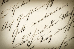 Vintage handwriting. antique manuscript. aged paper Stock Photography