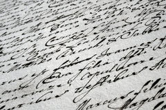 Vintage handwritten letter. Detail of a beautiful vintage handwriting Stock Photos