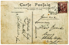 Vintage handwritten postcard letter Used paper texture backgroun Royalty Free Stock Photo