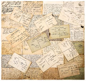 Vintage handwritten postcards. grunge paper background Royalty Free Stock Image