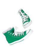 Vintage hanging green shoes Stock Images