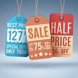 Vintage hanging price tags or sale labels. Vector shopping concept royalty free illustration