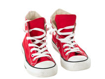 Vintage hanging red shoes Stock Photography