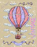 Vintage happy birthday card with hot air balloon Royalty Free Stock Photos