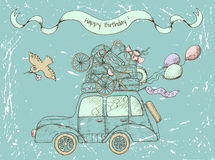 Vintage happy birthday card with old car Royalty Free Stock Photo