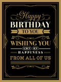 Vintage Happy Birthday card template Royalty Free Stock Photography