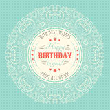 Vintage happy birthday card. Typography letters Royalty Free Stock Images