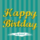 Vintage Happy Birthday Card vector illustration Royalty Free Stock Photo