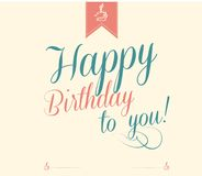 Vintage Happy Birthday Typographical Royalty Free Stock Photography