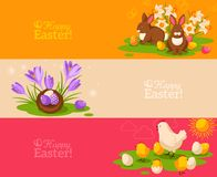 Vintage Happy Easter Banners Set. Vector Stock Photo