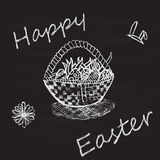 Vintage Happy Easter card with basket, eggs. Chalking, freehand drawing Stock Photo