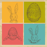 Vintage Happy Easter elements set Stock Photo