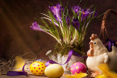 Vintage happy Easter greeting card Royalty Free Stock Images