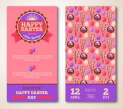 Vintage Happy Easter Greeting Card Design Stock Photos