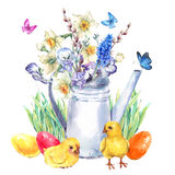 Vintage Happy Easter greeting card with spring bouquet Royalty Free Stock Photo