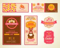 Vintage Happy Easter Greeting Cards Design Stock Images