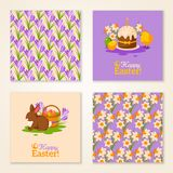 Vintage Happy Easter Greeting Cards. Vector Royalty Free Stock Image