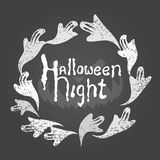 Vintage Happy Halloween Background On Chalkboard. Royalty Free Stock Image