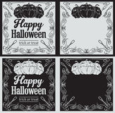 Vintage Happy Halloween greetings cards with pumpkin Stock Photo