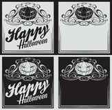 Vintage Happy Halloween greetings cards with pumpkin Stock Image
