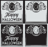 Vintage Happy Halloween greetings cards with pumpkin Royalty Free Stock Photography