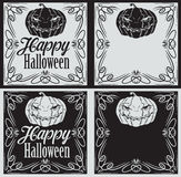 Vintage Happy Halloween greetings cards with pumpkin Royalty Free Stock Images