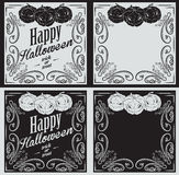 Vintage Happy Halloween greetings cards with pumpkin Stock Photography
