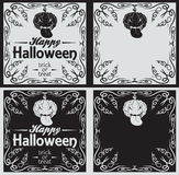 Vintage Happy Halloween greetings cards with pumpkin Stock Photos