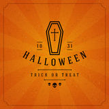 Vintage Happy Halloween Typographic Design. Vector Background Stock Images