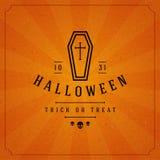 Vintage Happy Halloween Typographic Design Stock Images