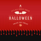 Vintage Happy Halloween Typographic Design. Vector Background and Bat Royalty Free Stock Images