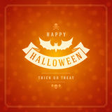Vintage Happy Halloween Typographic Design. Vector Background and Bat Royalty Free Stock Photography