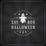 Vintage Happy Halloween Typographic Design. Vector Background and Ghost Royalty Free Stock Photos