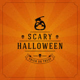 Vintage Happy Halloween Typographic Design. Vector Background and Pumpkin Stock Photography