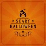 Vintage Happy Halloween Typographic Design Stock Photography