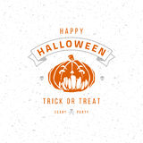 Vintage Happy Halloween Typographic Design. Vector Background and Pumpkin Royalty Free Stock Photography