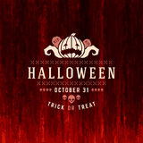 Vintage Happy Halloween Typographic Design. Vector Background and Pumpkins Royalty Free Stock Photos
