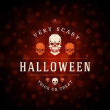 Vintage Happy Halloween Typographic Design. Vector Background and Skull Royalty Free Stock Photography