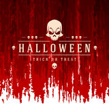 Vintage Happy Halloween Typographic Design. Vector Background and Skull Stock Photo