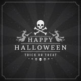 Vintage Happy Halloween Typographic Design. Vector Background and Skull Stock Photography