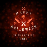 Vintage Happy Halloween Typographic Design. Vector Background and Skull Stock Photos