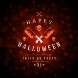 Vintage Happy Halloween Typographic Design Stock Photos