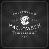 Vintage Happy Halloween Typographic Design. Vector Chalkboard Background and Pumpkin Stock Photo