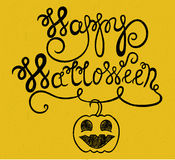 Vintage happy halloween typographical background with pumpkin Royalty Free Stock Photos