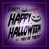 Vintage Happy Halloween Typographical purple Stock Photography