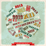Vintage Happy New year 2013 bauble. Vintage Happy New year 2013 concept numbers in circle shape. Vector illustration layered for easy manipulation and custom Royalty Free Stock Photo