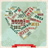 Vintage Happy New year 2013 concept heart. Vintage Happy New year 2013 concept numbers in love heart. Vector illustration layered for easy manipulation and royalty free illustration