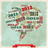 Vintage Happy New year 2013 social media bubble. Vintage Happy New year 2013 concept numbers and xmas elements in speech bubble. Vector illustration layered for royalty free illustration