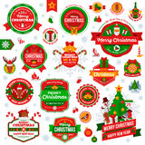 Vintage Happy New Year and Merry Christmas Badges and Labels Stock Images
