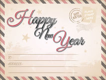 Vintage Happy New year postcard Stock Photography